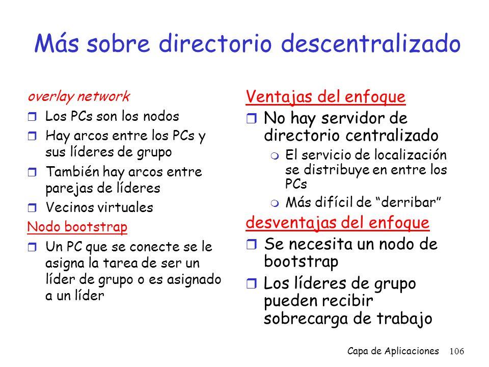 Más sobre directorio descentralizado