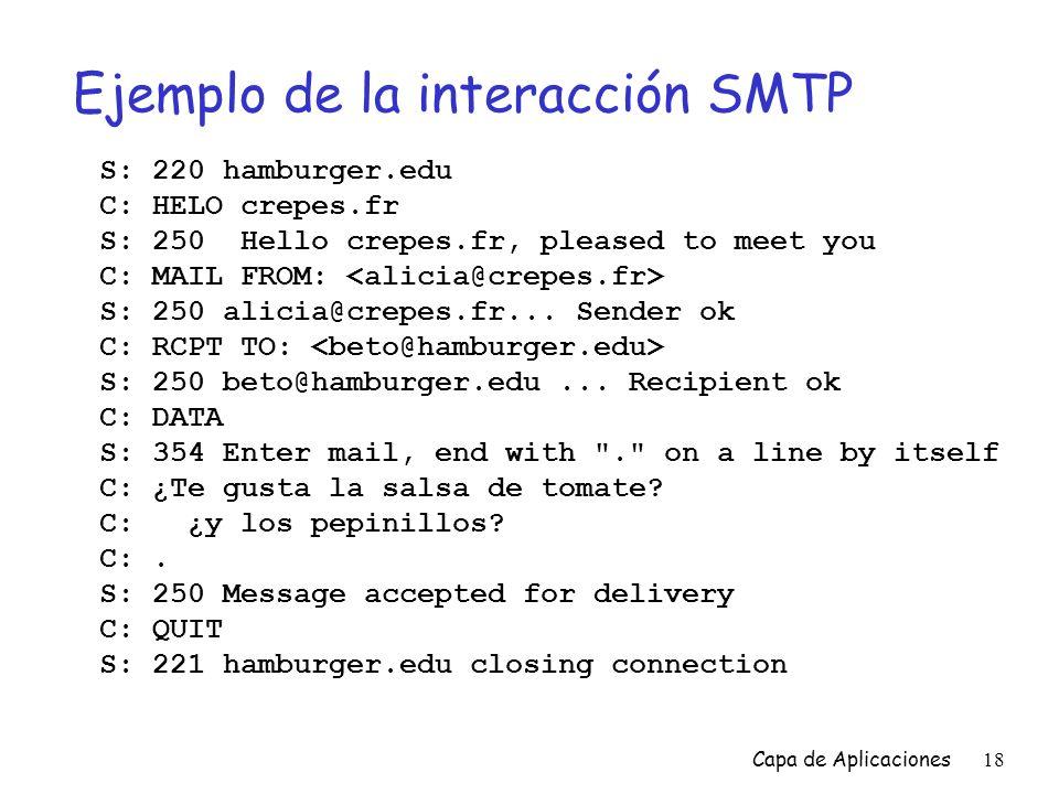 Ejemplo de la interacción SMTP