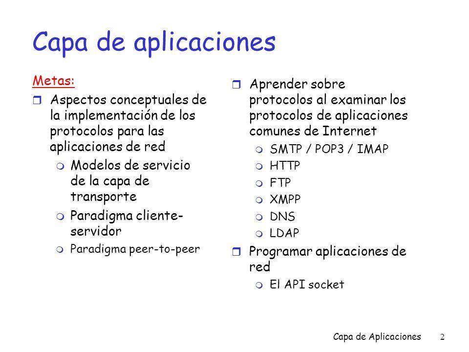 Capa de aplicaciones Metas: