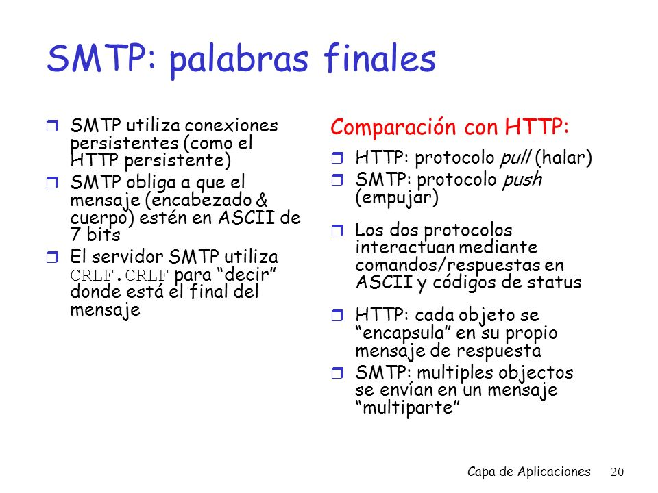 SMTP: palabras finales