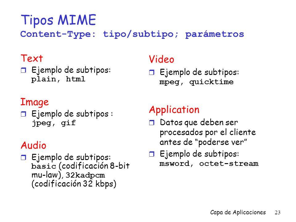 Tipos MIME Content-Type: tipo/subtipo; parámetros