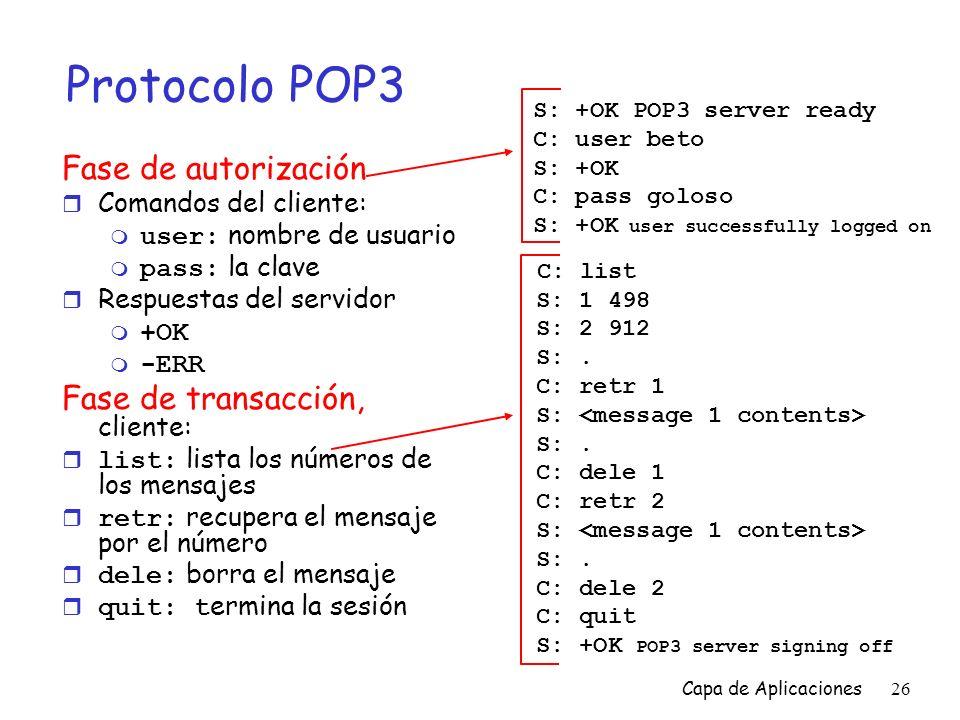 Protocolo POP3 Fase de autorización C: list