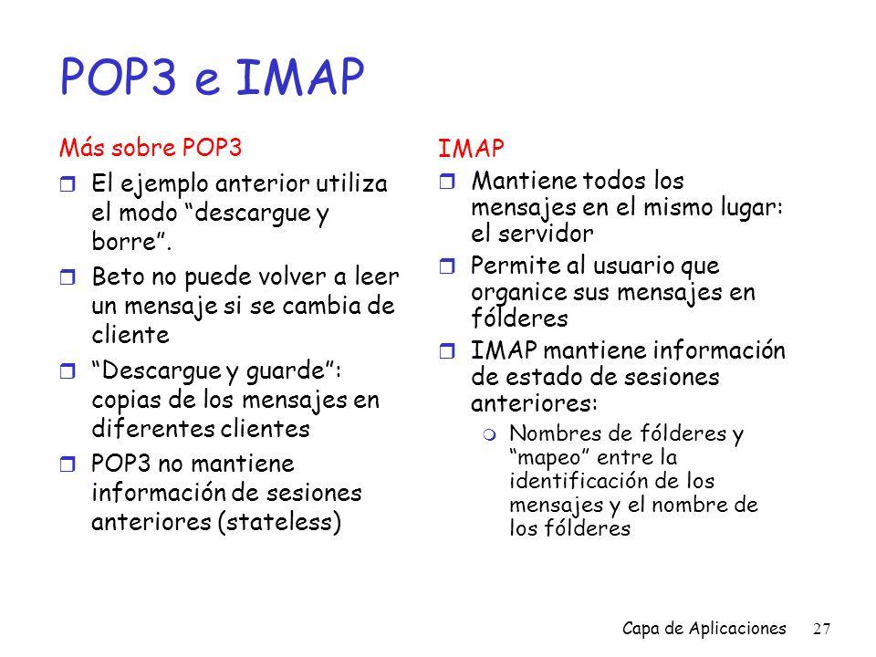 POP3 e IMAP Más sobre POP3 IMAP