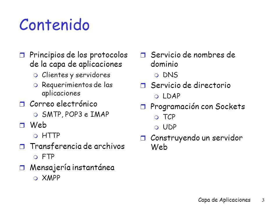 Contenido Principios de los protocolos de la capa de aplicaciones