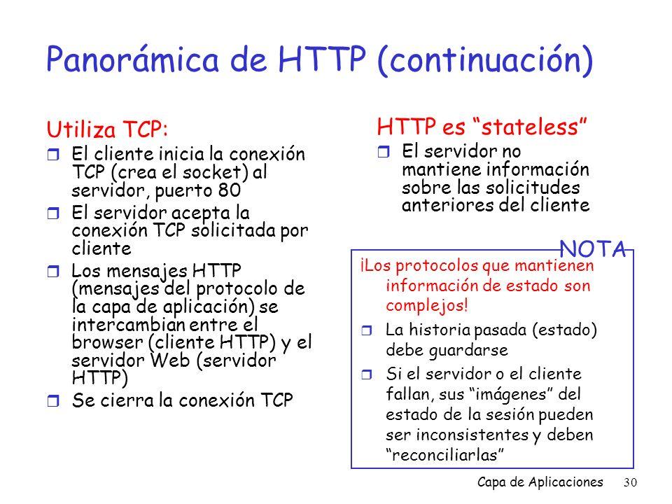 Panorámica de HTTP (continuación)