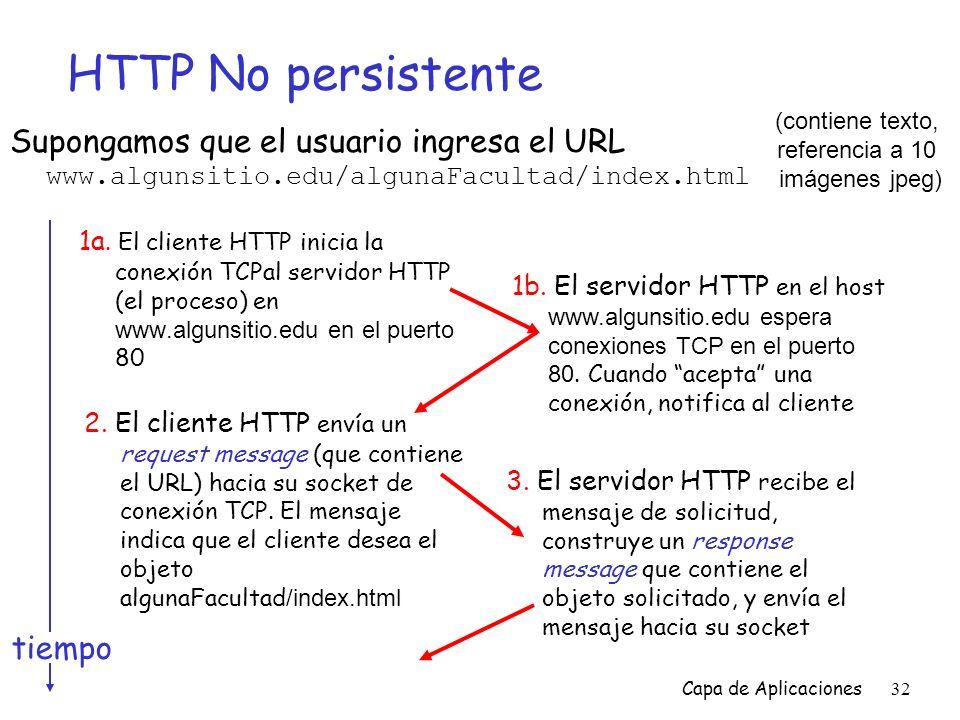 HTTP No persistente (contiene texto, referencia a 10. imágenes jpeg)