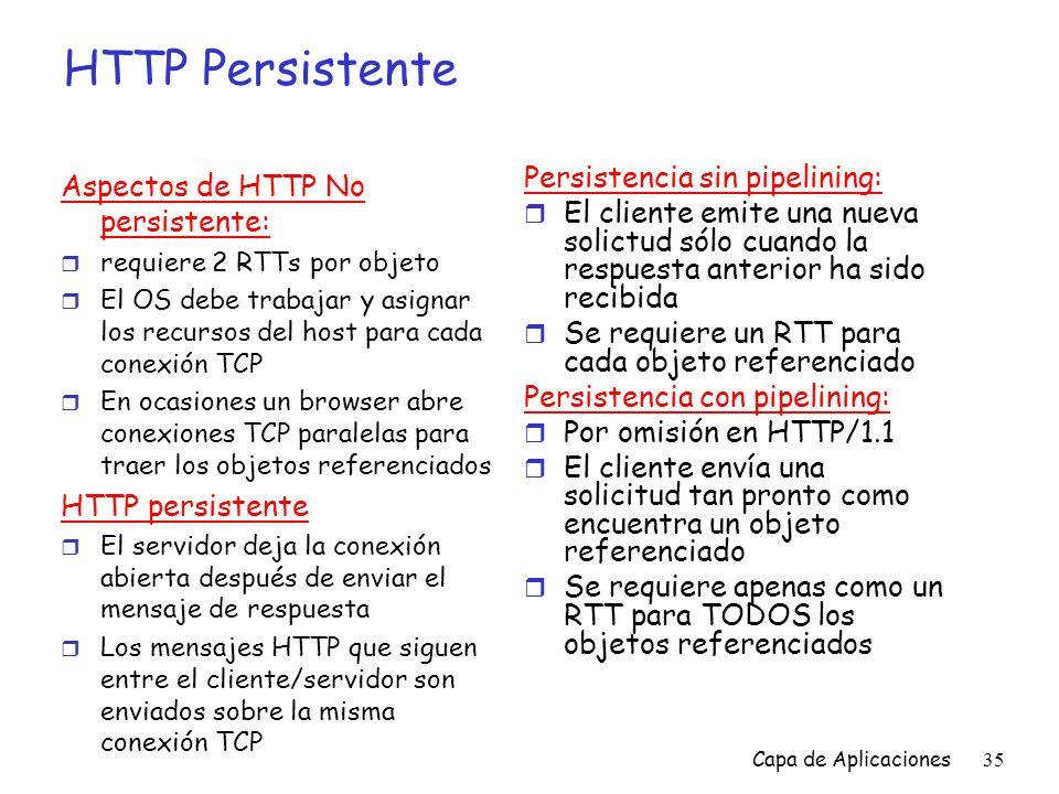 HTTP Persistente Aspectos de HTTP No persistente: