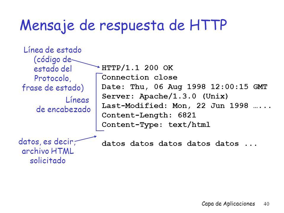 Mensaje de respuesta de HTTP
