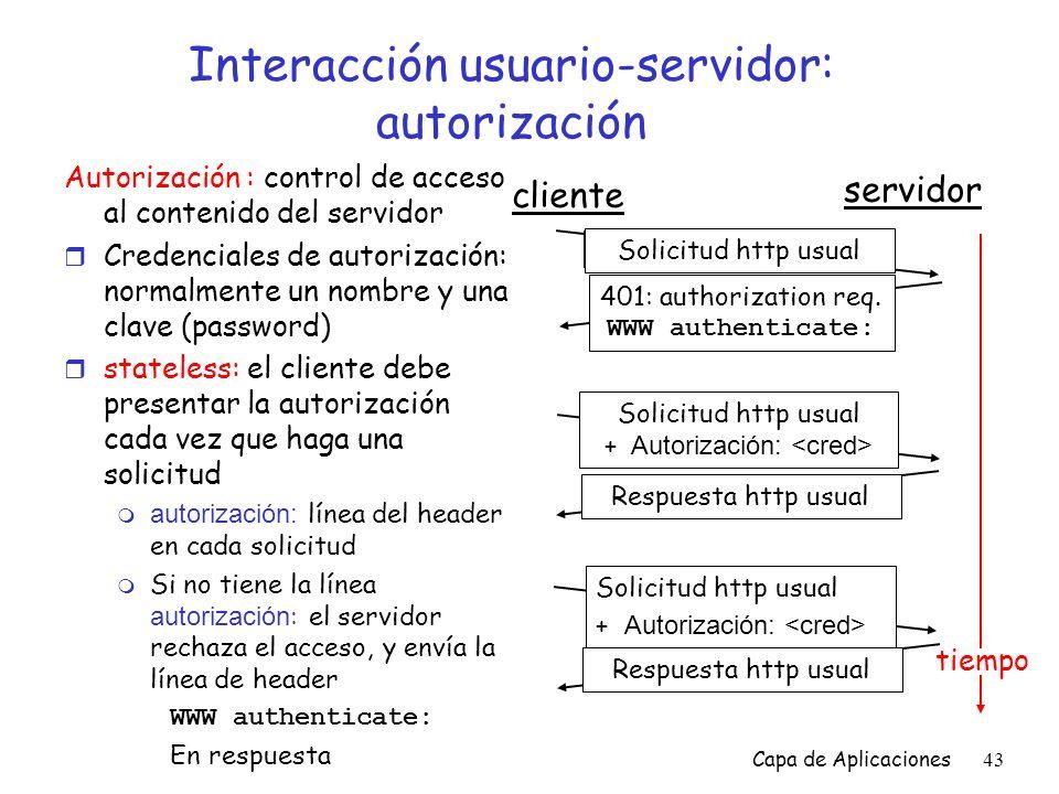 Interacción usuario-servidor: autorización