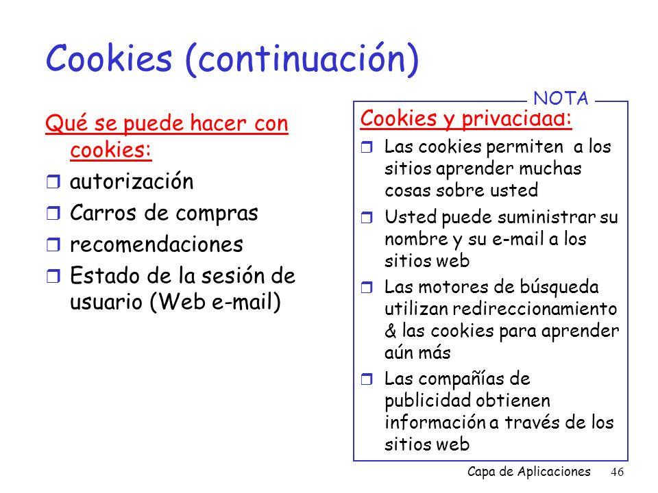 Cookies (continuación)