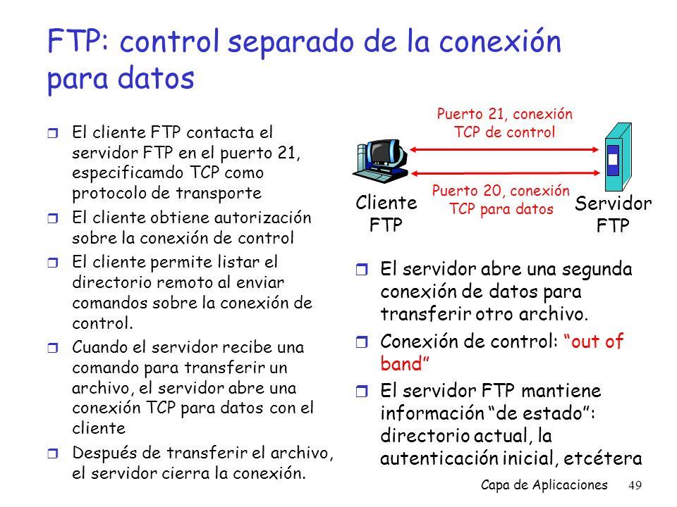 FTP: control separado de la conexión para datos