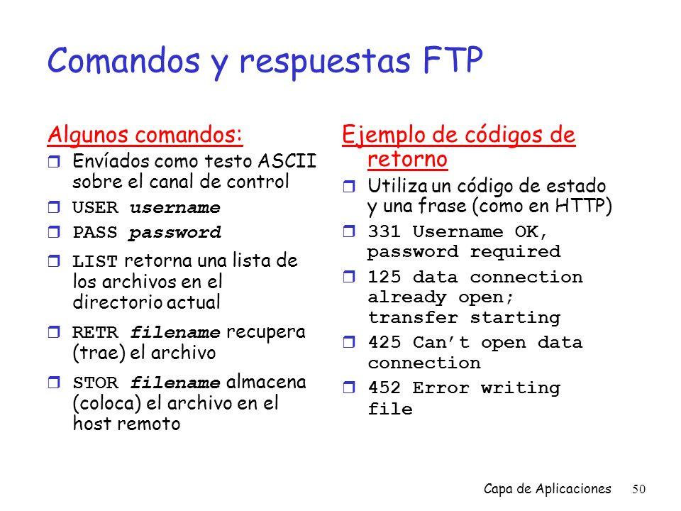 Comandos y respuestas FTP