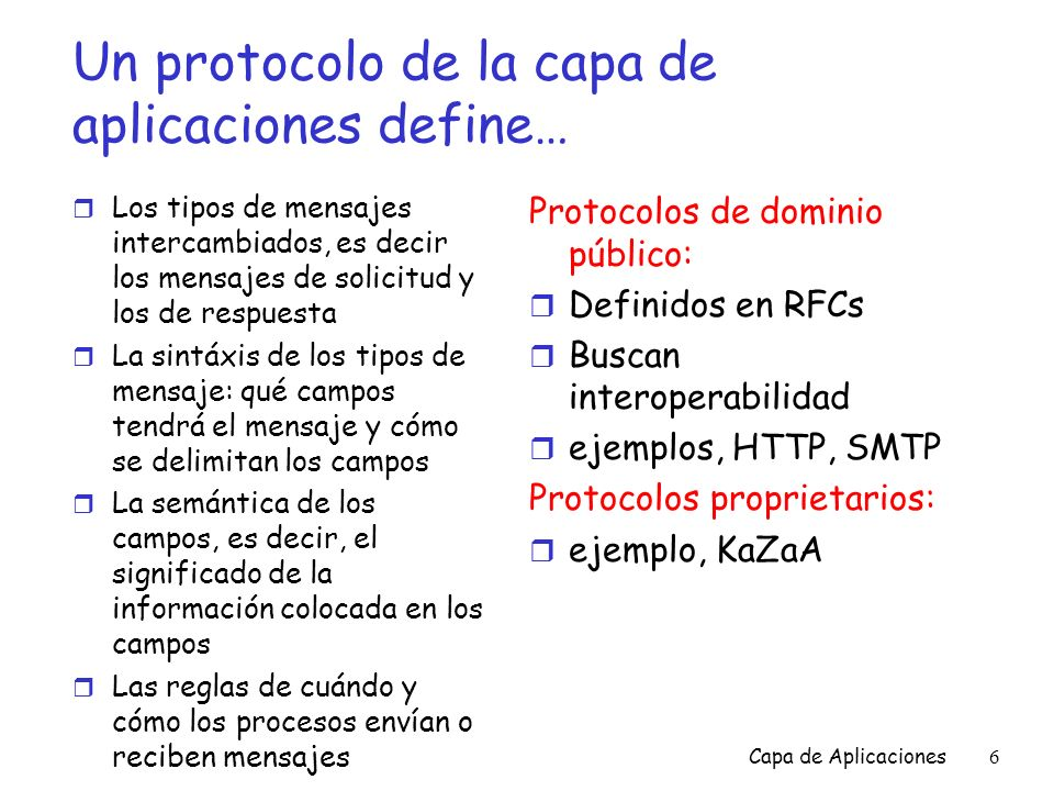 Un protocolo de la capa de aplicaciones define…