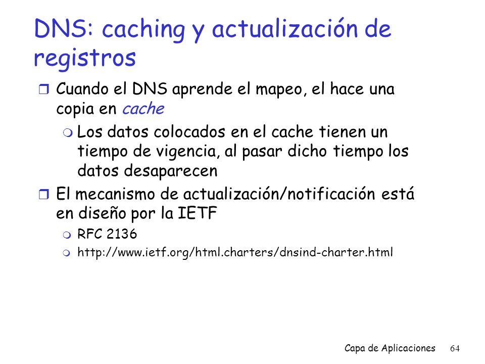 DNS: caching y actualización de registros