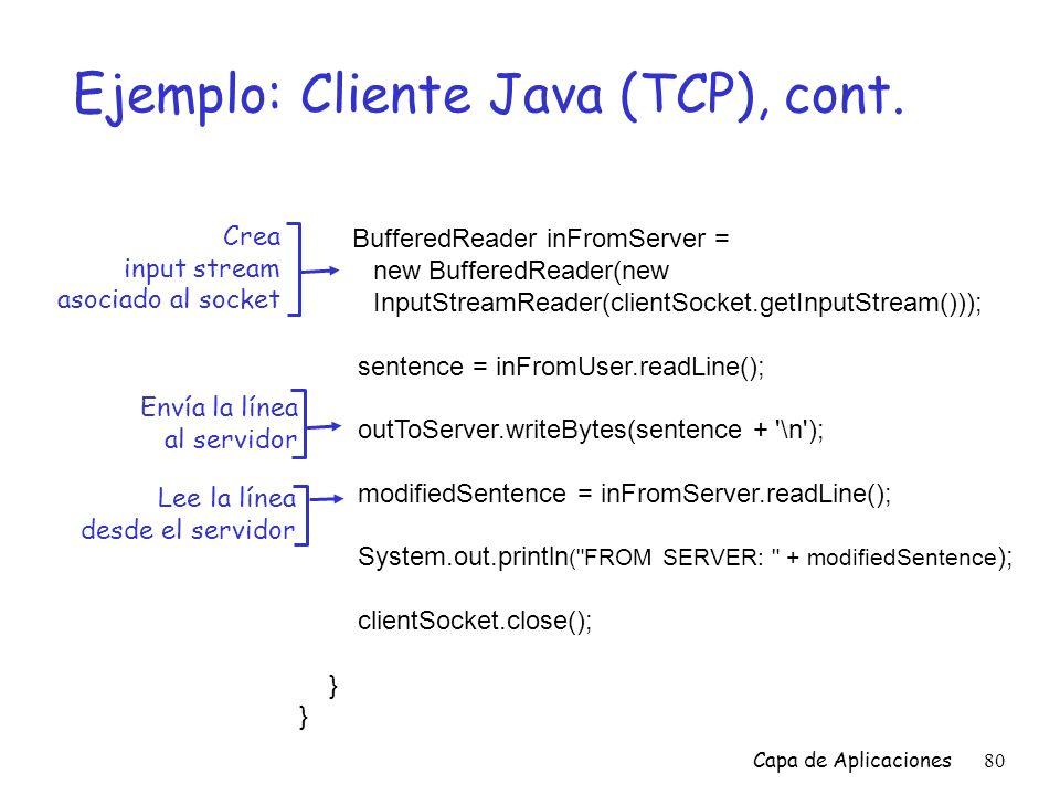 Ejemplo: Cliente Java (TCP), cont.