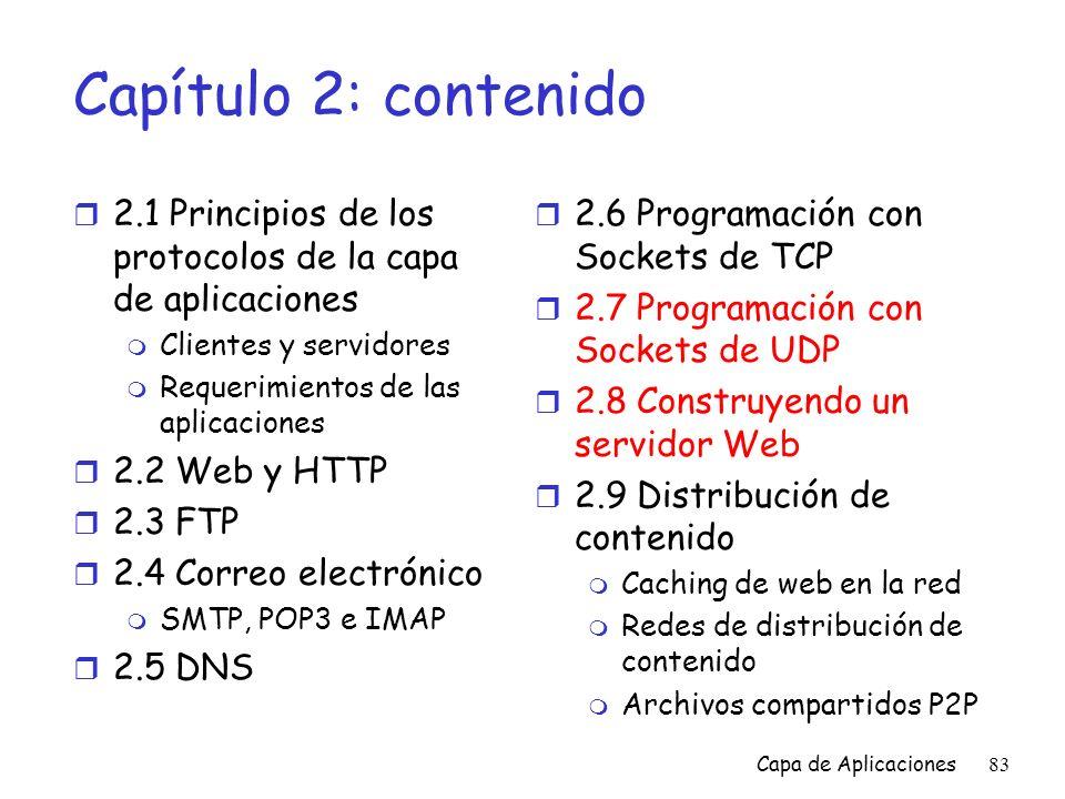 Capítulo 2: contenido 2.1 Principios de los protocolos de la capa de aplicaciones. Clientes y servidores.