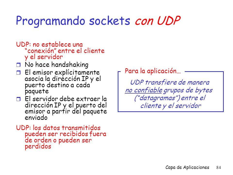 Programando sockets con UDP