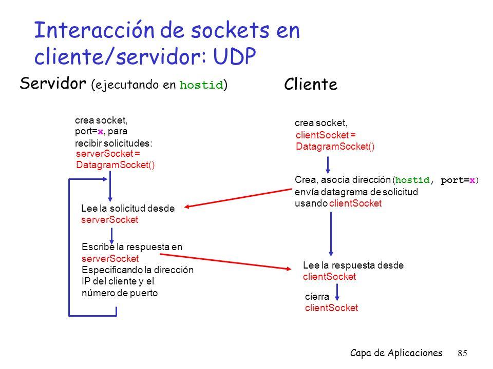 Interacción de sockets en cliente/servidor: UDP