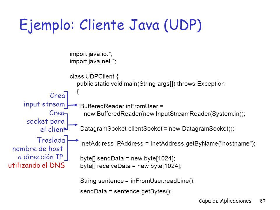 Ejemplo: Cliente Java (UDP)