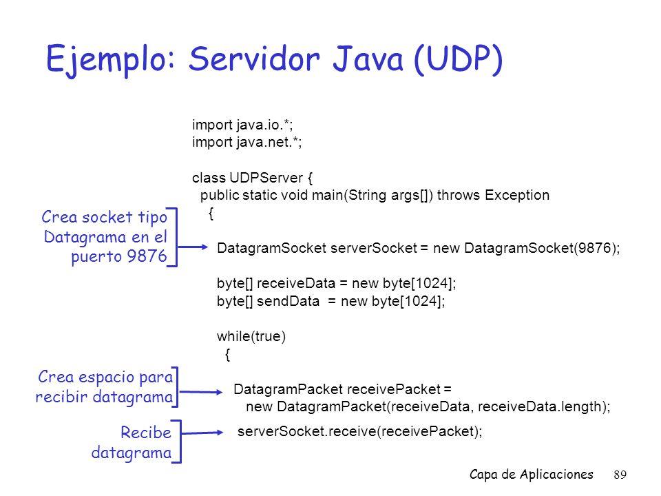 Ejemplo: Servidor Java (UDP)