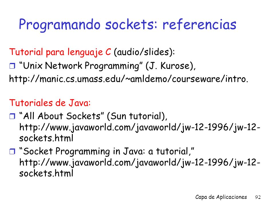 Programando sockets: referencias