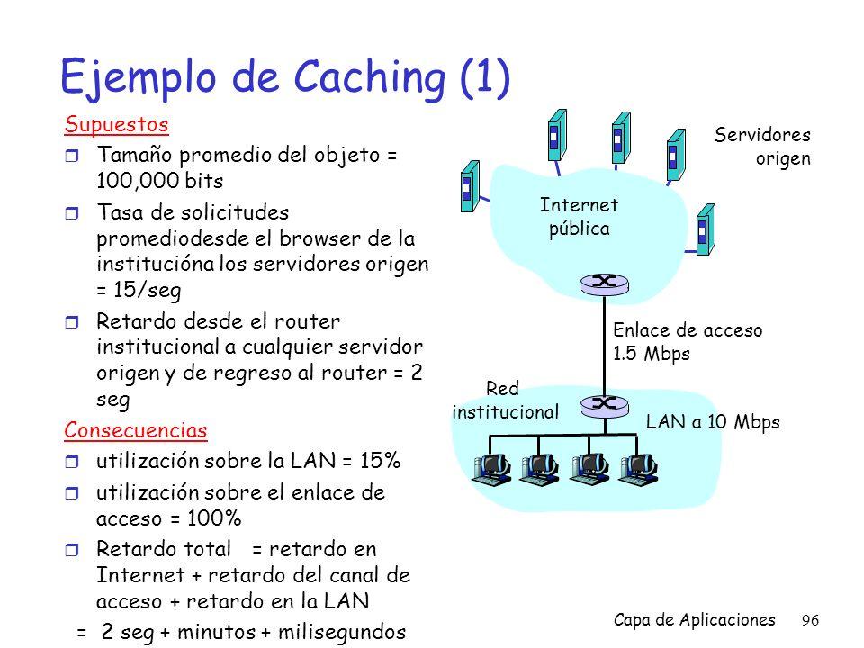 Ejemplo de Caching (1) Supuestos