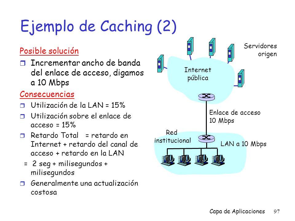 Ejemplo de Caching (2) Posible solución