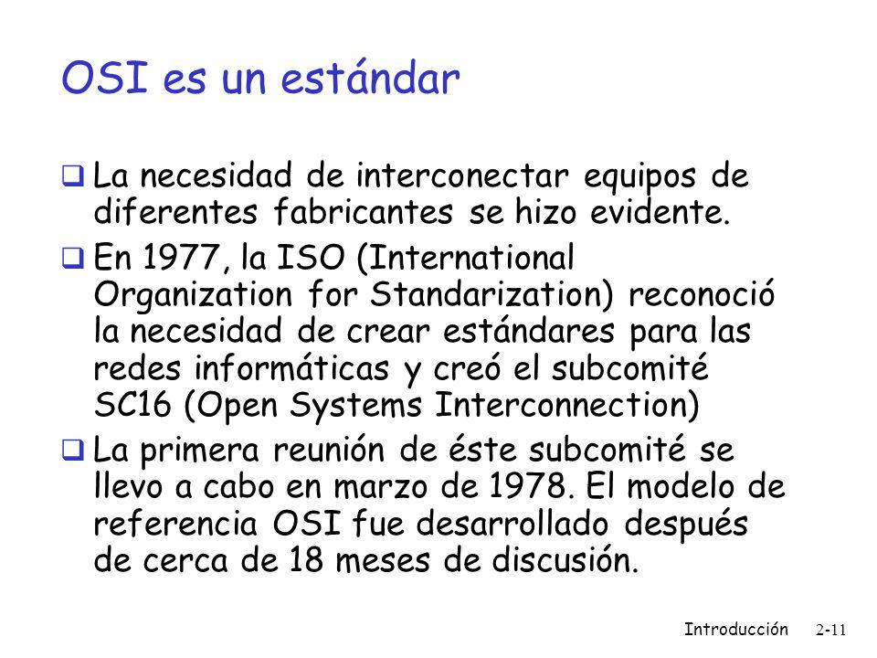 OSI es un estándar La necesidad de interconectar equipos de diferentes fabricantes se hizo evidente.