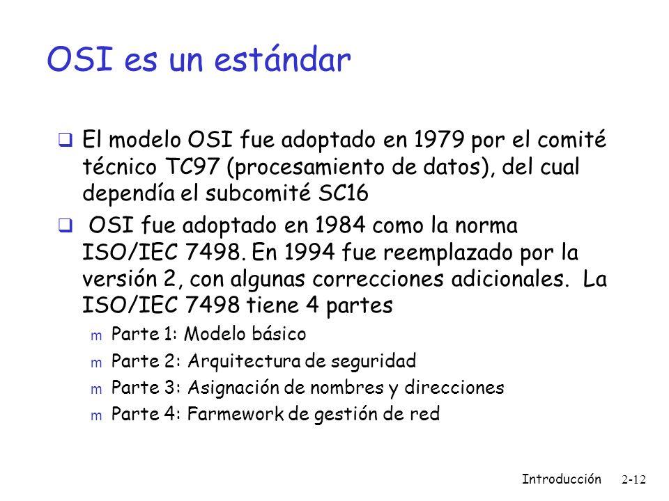 OSI es un estándar El modelo OSI fue adoptado en 1979 por el comité técnico TC97 (procesamiento de datos), del cual dependía el subcomité SC16.