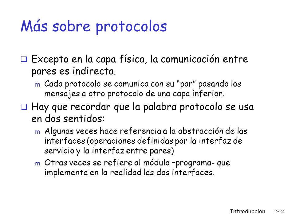 Más sobre protocolos Excepto en la capa física, la comunicación entre pares es indirecta.