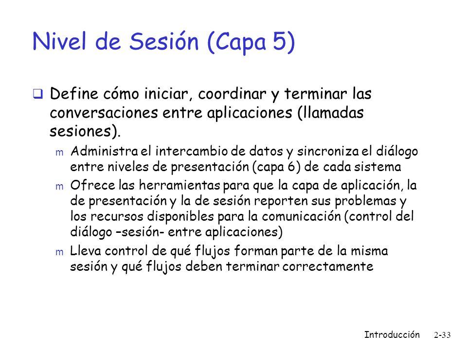 Nivel de Sesión (Capa 5)Define cómo iniciar, coordinar y terminar las conversaciones entre aplicaciones (llamadas sesiones).