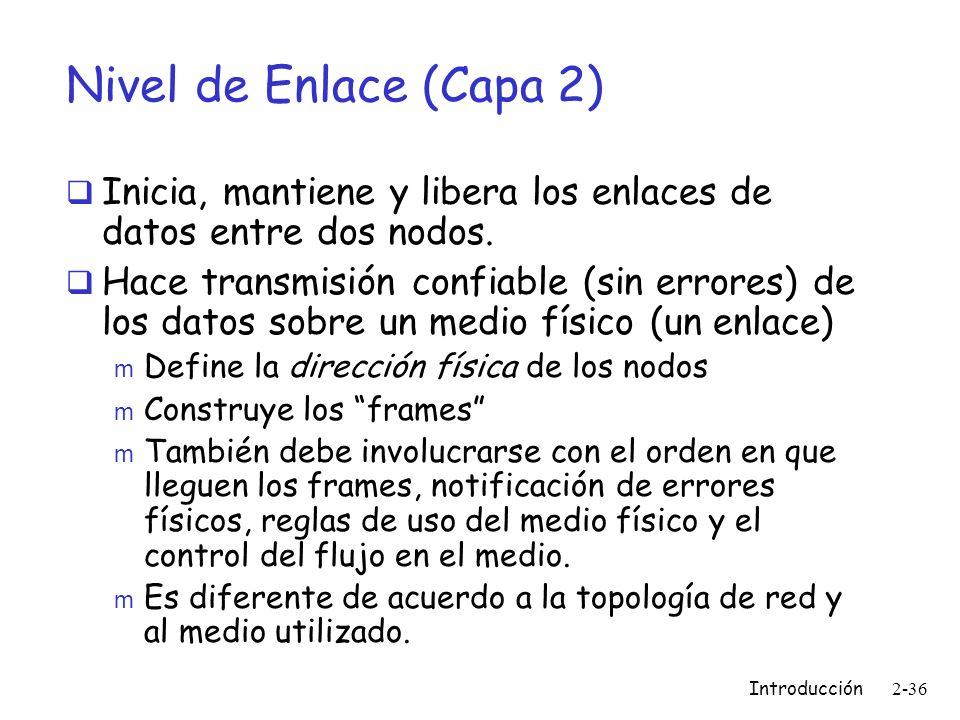 Nivel de Enlace (Capa 2) Inicia, mantiene y libera los enlaces de datos entre dos nodos.