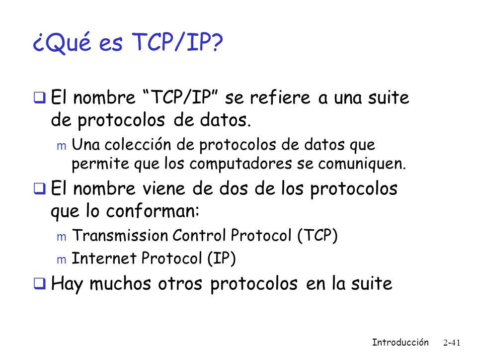 ¿Qué es TCP/IP El nombre TCP/IP se refiere a una suite de protocolos de datos.