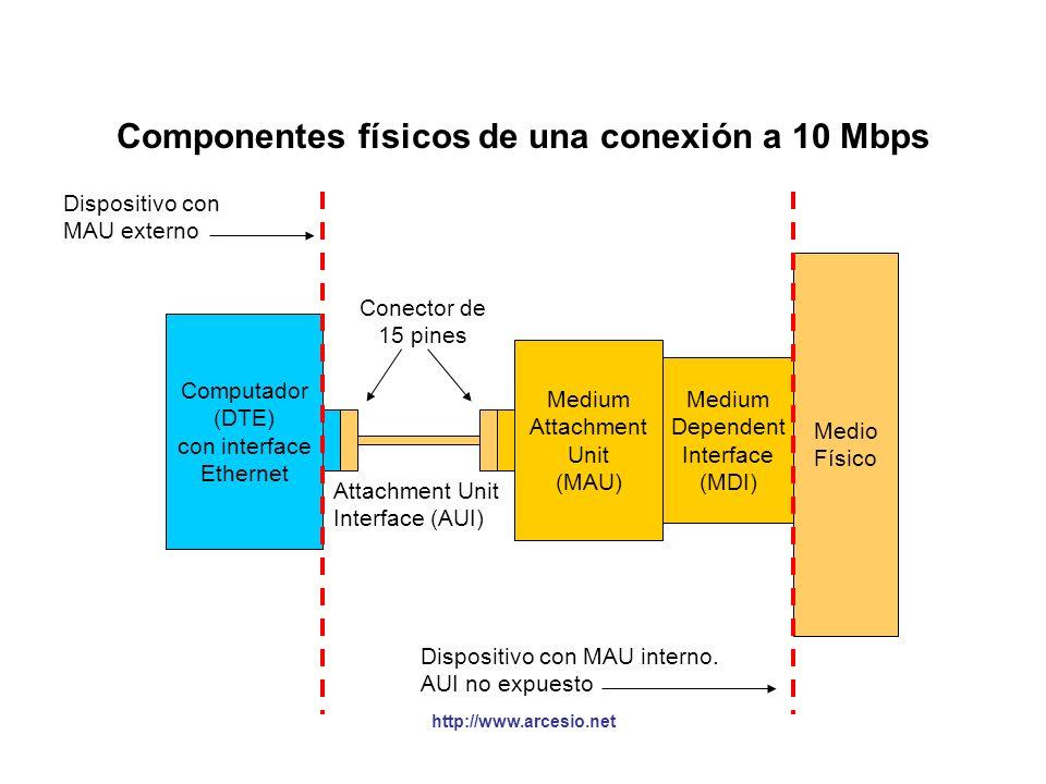 Componentes físicos de una conexión a 10 Mbps