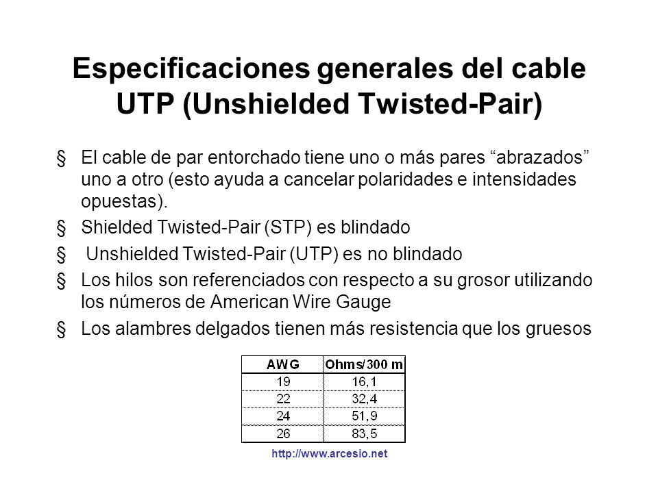 Especificaciones generales del cable UTP (Unshielded Twisted-Pair)