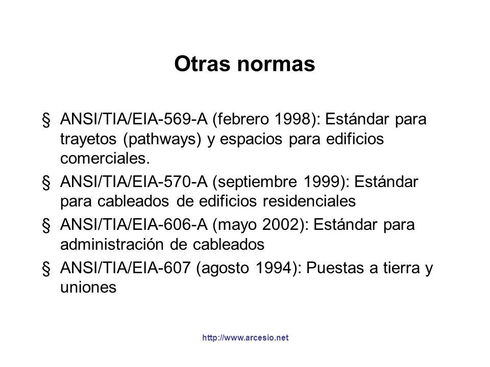 Otras normas ANSI/TIA/EIA-569-A (febrero 1998): Estándar para trayetos (pathways) y espacios para edificios comerciales.