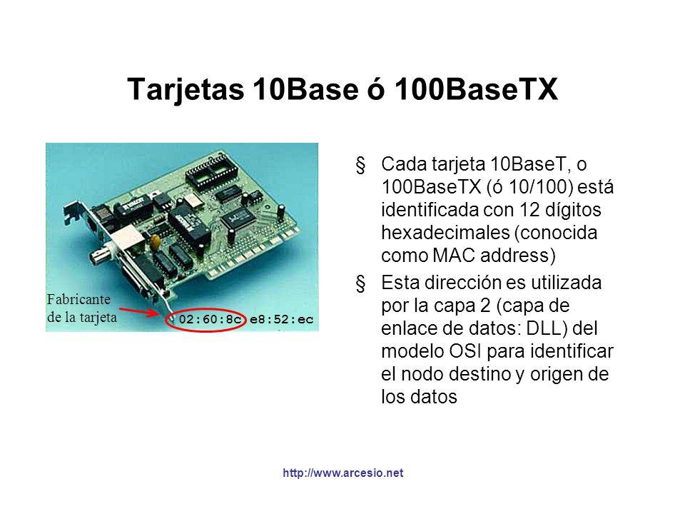 Tarjetas 10Base ó 100BaseTX 02:60:8c:e8:52:ec. Fabricante. de la tarjeta.