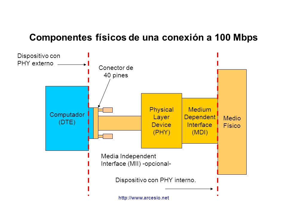 Componentes físicos de una conexión a 100 Mbps