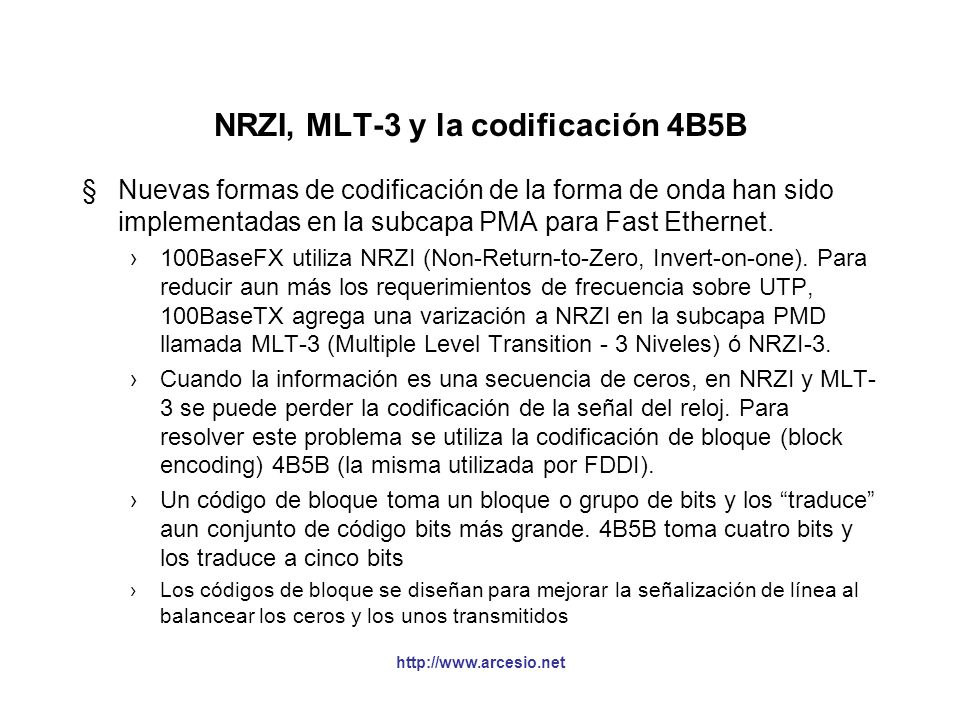 NRZI, MLT-3 y la codificación 4B5B