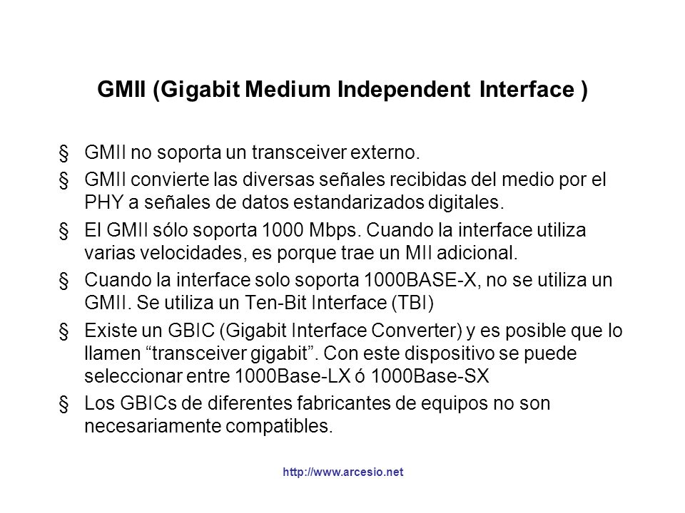 GMII (Gigabit Medium Independent Interface )