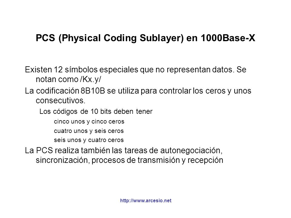 PCS (Physical Coding Sublayer) en 1000Base-X