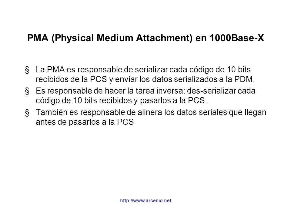 PMA (Physical Medium Attachment) en 1000Base-X
