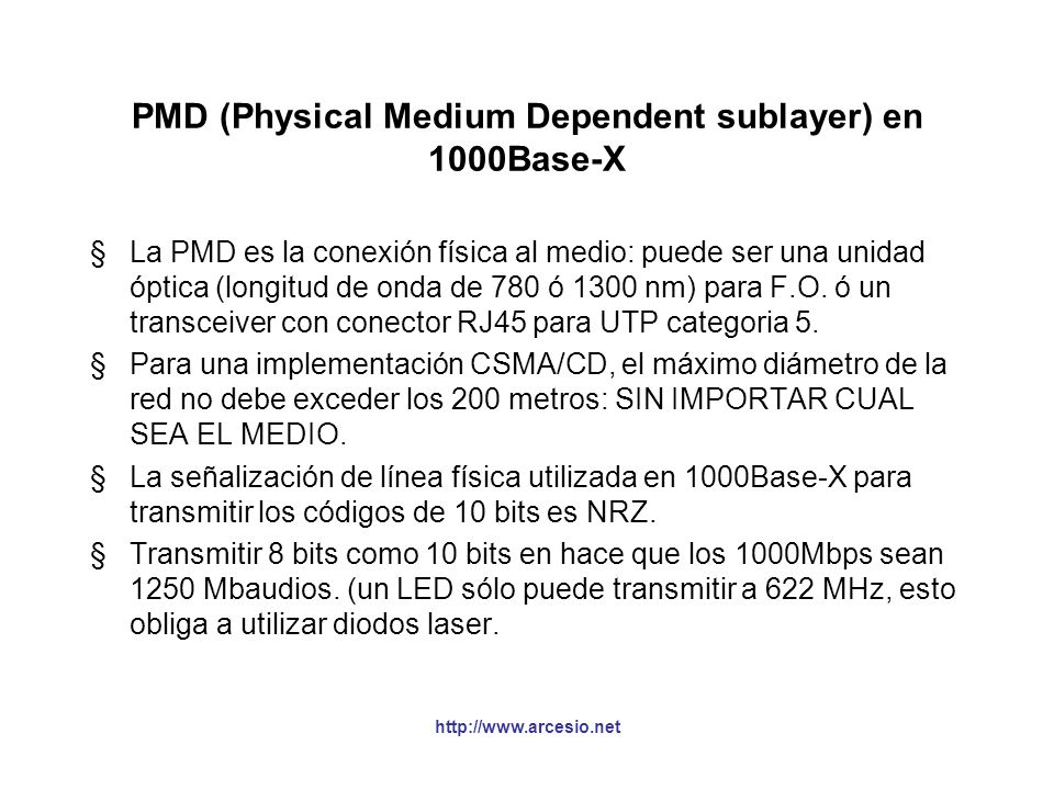PMD (Physical Medium Dependent sublayer) en 1000Base-X