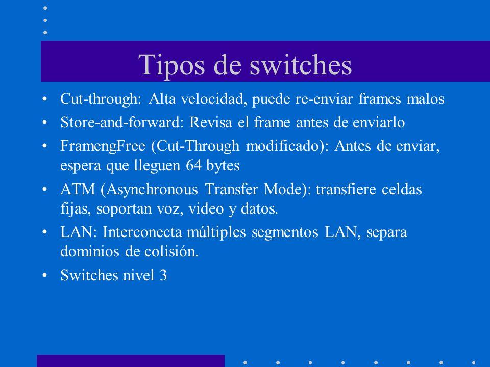Tipos de switchesCut-through: Alta velocidad, puede re-enviar frames malos. Store-and-forward: Revisa el frame antes de enviarlo.