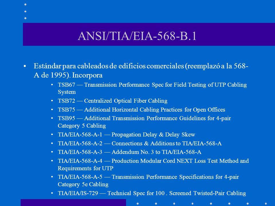 ANSI/TIA/EIA-568-B.1 Estándar para cableados de edificios comerciales (reemplazó a la 568-A de 1995). Incorpora.