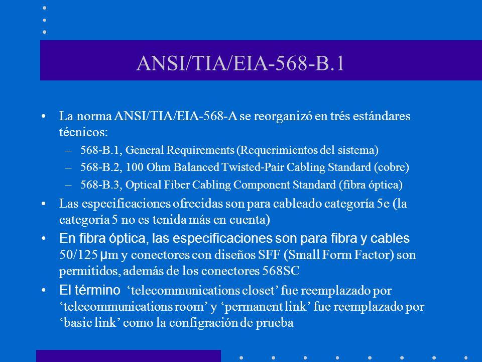 ANSI/TIA/EIA-568-B.1La norma ANSI/TIA/EIA-568-A se reorganizó en trés estándares técnicos: