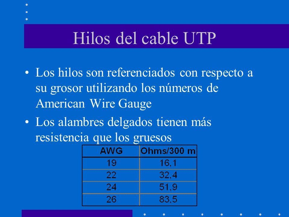 Hilos del cable UTP Los hilos son referenciados con respecto a su grosor utilizando los números de American Wire Gauge.