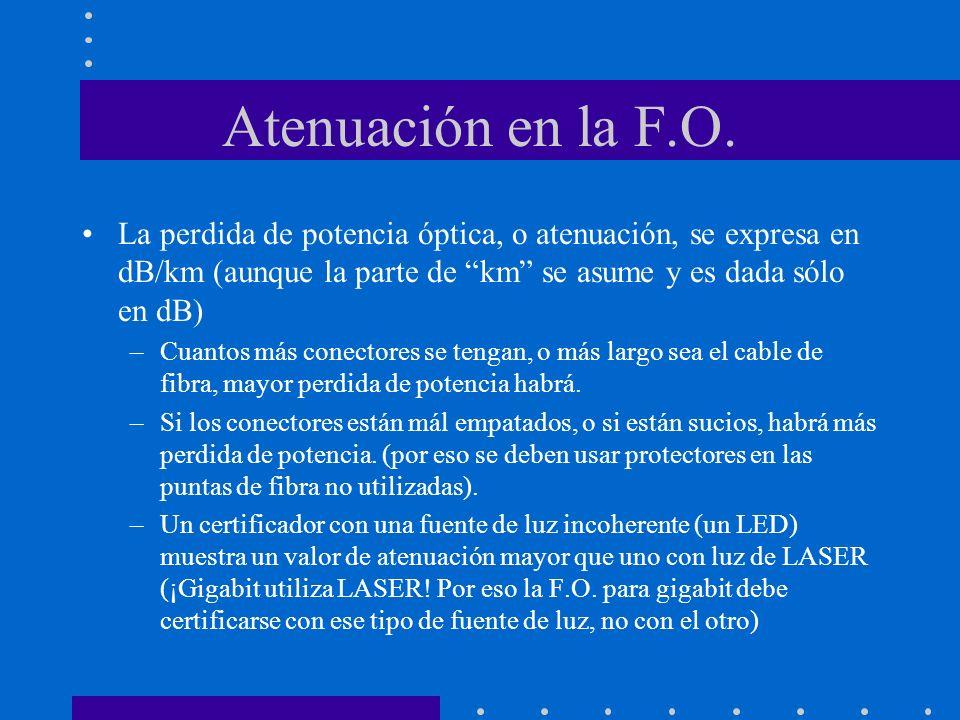 Atenuación en la F.O.La perdida de potencia óptica, o atenuación, se expresa en dB/km (aunque la parte de km se asume y es dada sólo en dB)