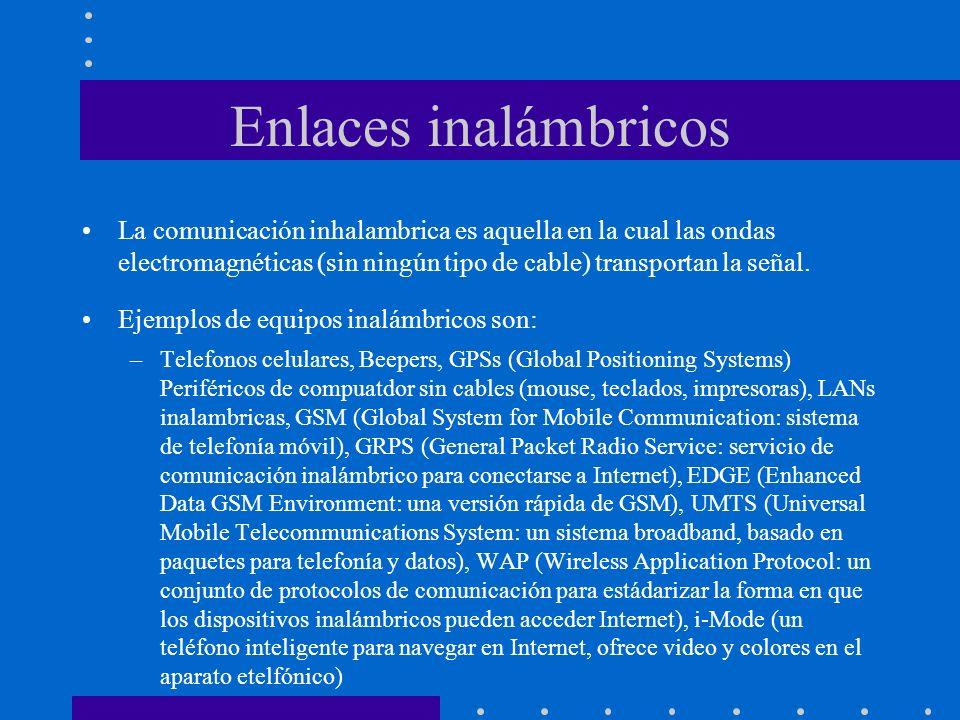 Enlaces inalámbricos La comunicación inhalambrica es aquella en la cual las ondas electromagnéticas (sin ningún tipo de cable) transportan la señal.