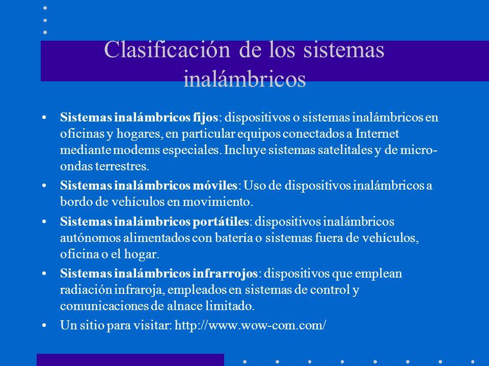Clasificación de los sistemas inalámbricos